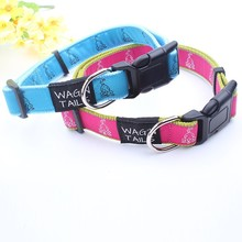 woven dog collar with custom logo high quality