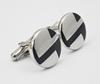 High quality stainless steel shirt cufflinks mens round enamel cufflink
