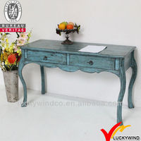 Aqua Blue Reproduction Writing Wooden French Antique Desk