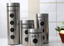 Stainless steel coating glass canister set