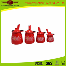 high quality red enamel coffee warmer can with enamel lid