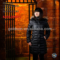 2014 Italian design women winter long down coat with raccon fur hood
