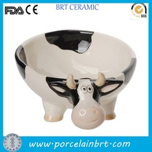 Funny giftware/dinnerware decorative ceramic white and black cow shape baby bowl