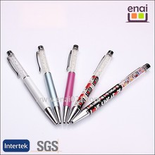 hottest and cheap metal crystal writing decorative ball pen with customised LOGO imprinted