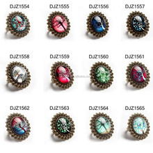 DJZ1566 Family Tree Glass Cabochon Vintage Ring Antique Bronze Adjustable
