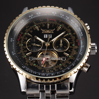JARAGAR High Quality Fashion Stainless Steel Band Big Dial Watches for Men