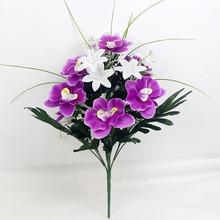 Decoración púrpura orquídeas artificial ramo de flores orquídea