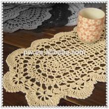 Bege, 7 x 14 polegadas kilofly algodão crochet do laço doilie placemats