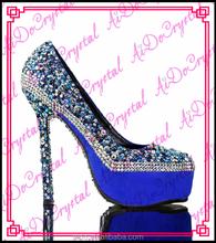 Aidocrystal 2015 latest design platform glitter crystal high heels,genuine leather ladies pumps