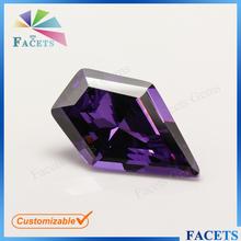Facets Gems Newest Design Fancy Cut Cubic Zirconia Sword Shaped Raw Amethyst Zircon Stone