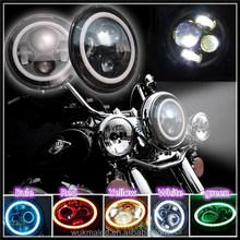 "For Harley Hi/Lo Beam DRL Turn Signal Angel-Eye light 7"" Motorcycle LED Headlamp"