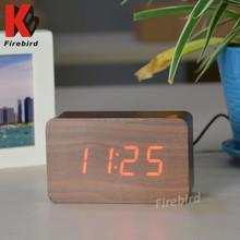 Customized logo decorative desktop wooden led digital alarm clock
