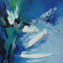 Blue sea wave design abstract oil painting by hand