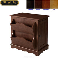 (No Tools Assembly) Wooden Living Room Walnut 2 Tiered Magazine Rack Cabinet End Table