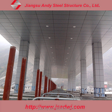 Prefabricated steel space frame roofing for toll station