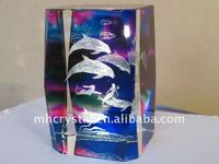 3D Etched Glass Cube Dolphins & Mermaids, Paperweight MH-F0092