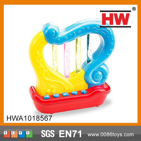 Linda criança brinquedo musical plástico mini harpa com luz e música