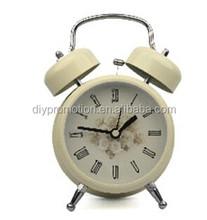 2015 decorative white funny twin bell alarm clock