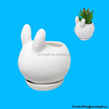 Decorative Bunny Rabbit Design White Mini Ceramic Plant Flower Pot Succulent Planter w/ Saucer