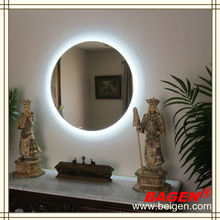 5 star hotel room furniture round backlit mirror, decorative lighting mirror,16years supply for hotels