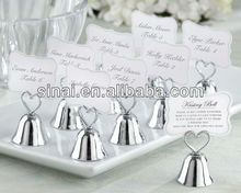 Wedding Silver Kissing Bell Place Card Photo Holder