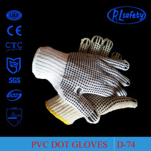 RL Safety Goop Grip PVC Dotted Gloves White Cotton Hand Gloves With PVC Dots