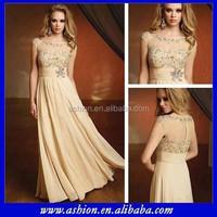 ME-073 Stunning sheer top silk chiffon mother of the bride beach wedding dress formal evening dress for mom