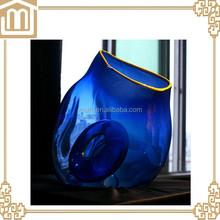 Home decoration Hand brown blue color transparent clear glass vase