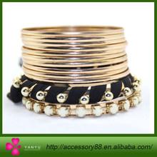 Hot selling Attractive Gold plating black fabric beads bangle and stone Bangle fashion bangle set and bracelet