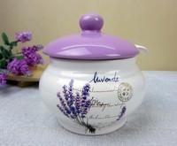 hot selling ceramic flower salt jar