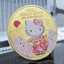 Famous Japan Cartoon Cat Gold Plated Commemorative Coin