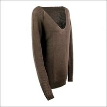Rib v-neck long sleeve wool sweater design for girl