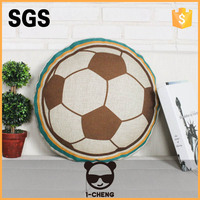 New Design Football Pattern Round Seat Cushion Round Microbead Pillow