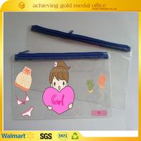 Customized Logo Printed PVC Plastic Pencil Bag With Zipper