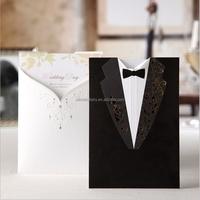 High Quality Hot Stamping Bridal ang Groom Wedding Invitation Card CW2011