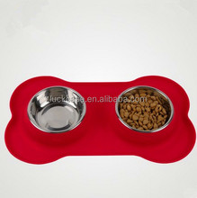New arrival pet feeding stainless steel bone dog/cat bowl silicone double basin of water bowls