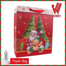 3d handmade paper gift bag for x-mas,santa claus new bag shop popular