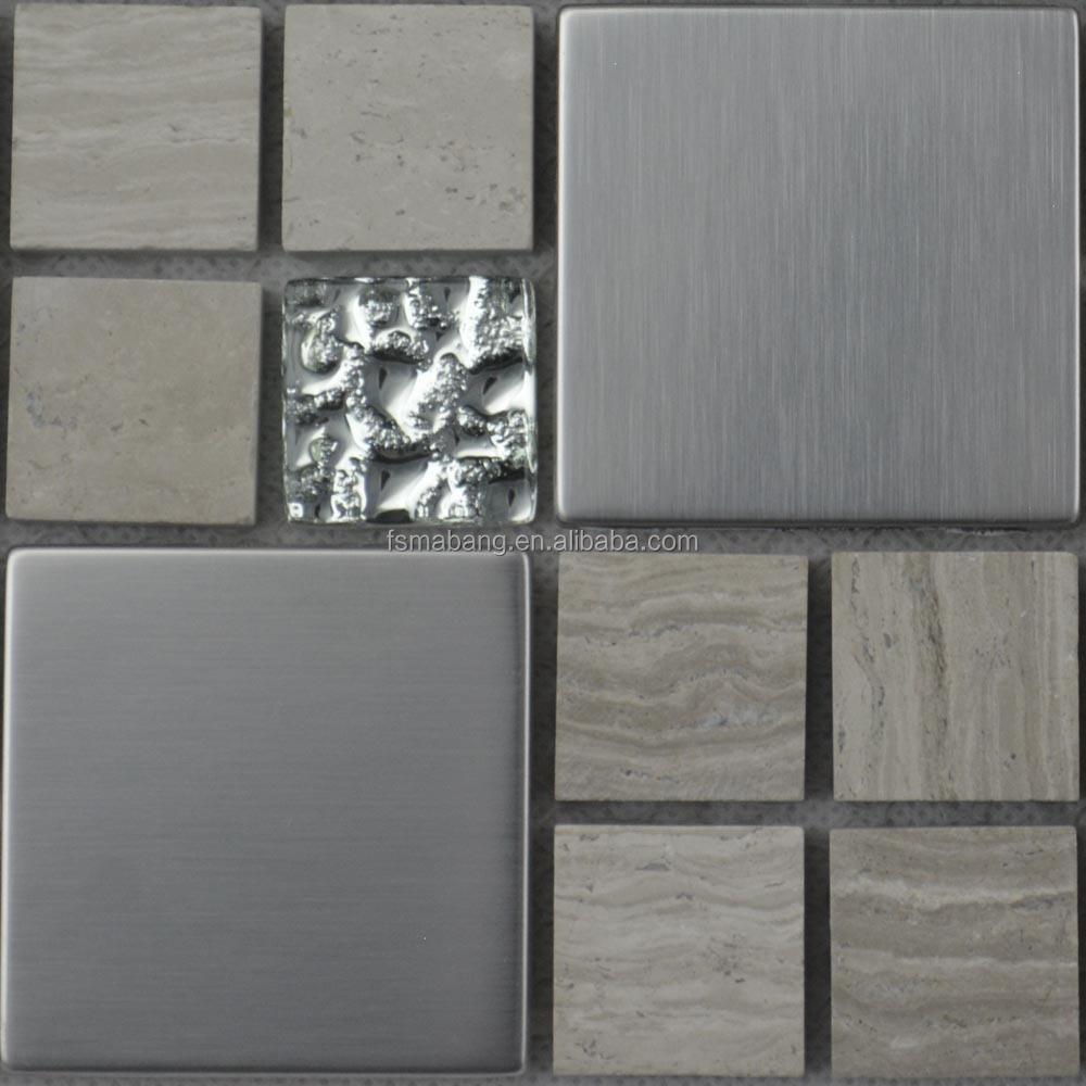 mby5009 formato misto mosaico in legno con mosaico in acciaio inox ...