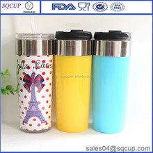 2015 newest double layer thermal plastic cup or double layer travel mug