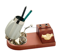 deluxe gold palting golf theme pen holder