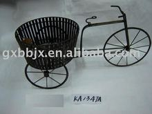 Black iron wire oval storage collecting basket with bike