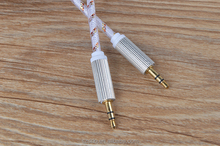 1m transparent colorful Fabric braided Shield 3.5mm audio/aux Cable for mp3/mp4 Headphone Customized