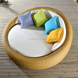 Rattan Chaise Lounge Modern Beach sun bed Rattan Round Bed