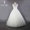 Elegant Lace Covered Back Puffy Tulle Wedding Dress For Full Figure Brides