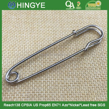 Hot selling high gloss silver 75mm fancy decorative safety pin for sweater