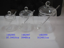 hand blown clear glass clip lid jars 14B2985-14B2988