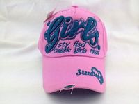 Girls Pink Baby Washed Baseball Cap with Raised 3D Embroidery