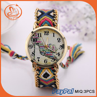 New Design Colorful Bracelet Watches Knitted Wrap Vintage Women Watches Letter Shoes Painting On Dial Timepieces