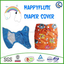 2015summer style Happy flute new born baby cloth diaper cover,adjustment snaps designs,washable reusable plastic nappy,wholesale