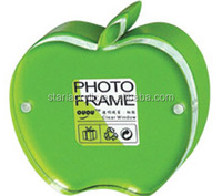 Apple Shaped Plexiglass Magnetic Block Picture Frame, Transparent Green Acrylic Magnetic Gift Photo Frame